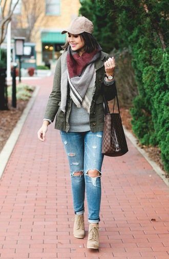 life & messy hair blogger shoes jeans bag sweater jewels hat scarf jacket cap fall outfits louis vuitton bag army green jacket ankle boots ripped jeans