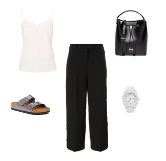 pants black black pants black culottes culottes white top satin top bucket bag birkenstocks ted baker
