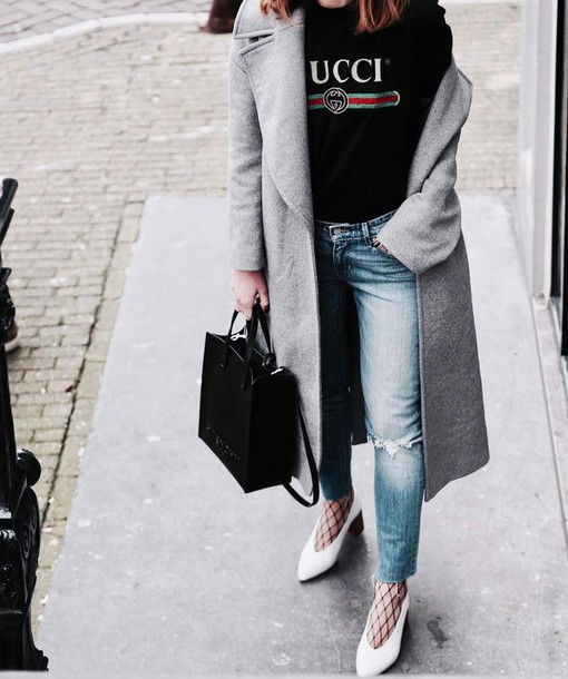 904e4921b268 coat tumblr logo tee logo gucci black t-shirt t-shirt grey coat denim
