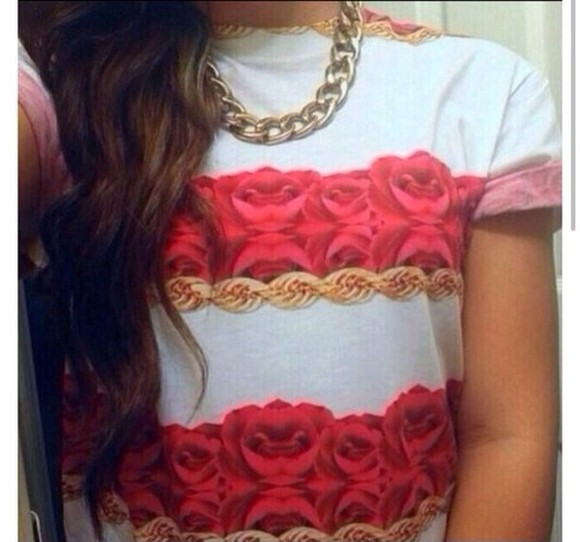 rose red shirt tshirt roses white ropes tumblr