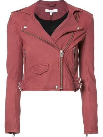 jacket biker jacket cropped women red