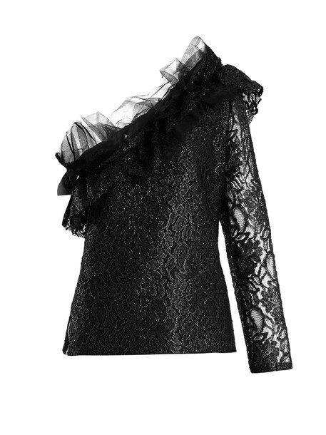 MSGM top ruffled top lace black