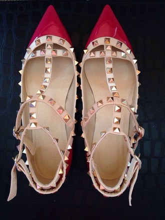 shoes rose valentino rock studs inspired patent pointed flats