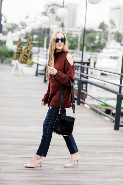 eat sleep wear blogger sweater jeans bag shoes shoulder bag fall outfits pumps