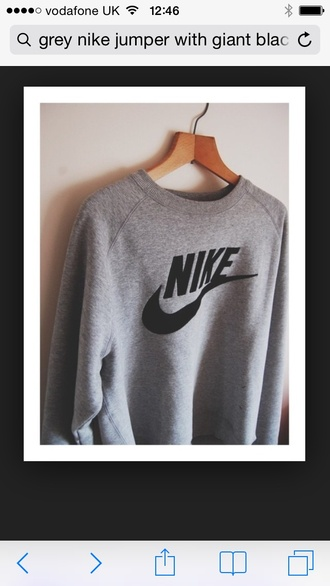 nike jumper hipster skater grey black nike sweater crewneck
