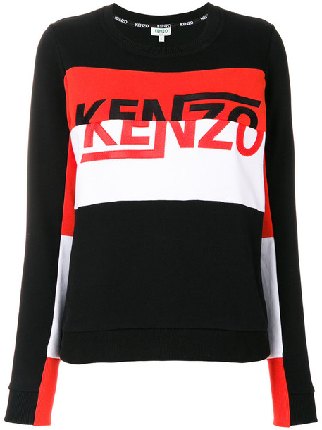 Kenzo sweatshirt embroidered women cotton black sweater