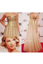 dress,tidetell,prom dress,gold sequins,strapless prom dress,tulle dress,chamapgne prom dress,golden sequins prom dress],long prom dress