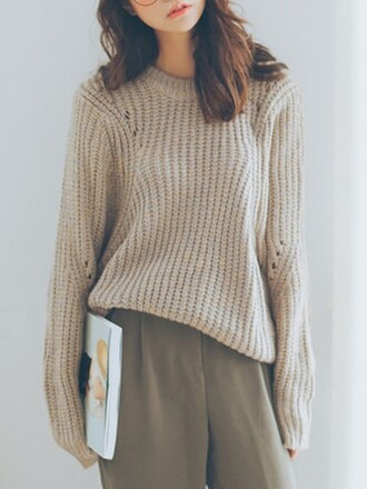 sweater choies khaki hollow loose knit sweater long sleeves