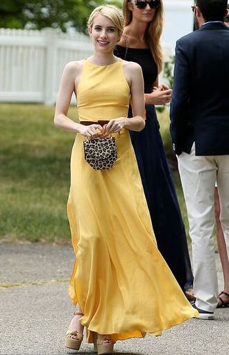 dress maxi dress sandals wedges emma roberts yellow