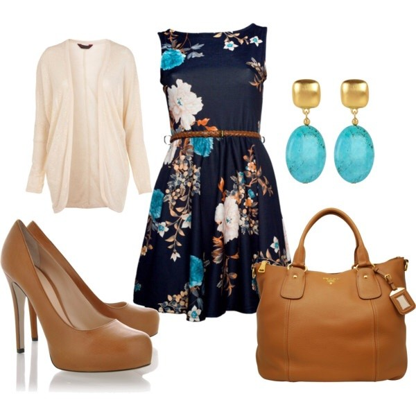 dress sweater shoes blue dress floral dress pinterest short dress summer dress sleeveless cardigan heels high heels bag purse earrings clothes outfit navy floral flowers midi dress