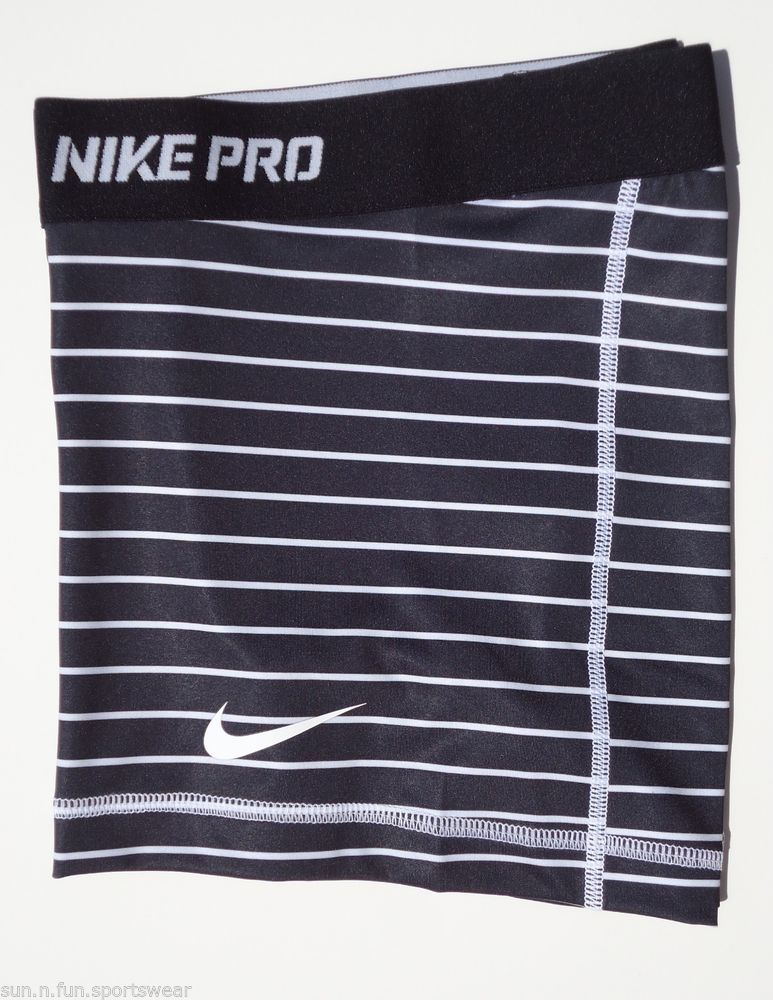 New Black White Stripe M Nike Pro Core Womens Dri Fit Compression Shorts Med | eBay