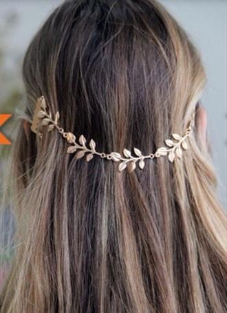 hair accessory metal leaf hairband