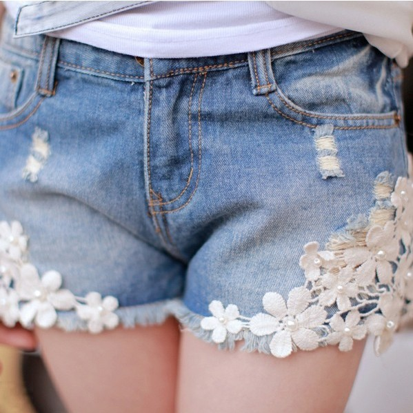 summer denim shorts for woman vintage pearl lace flower short