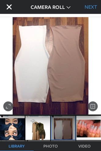 dress nude strapless white sexy slim dress bodycon sexy dress
