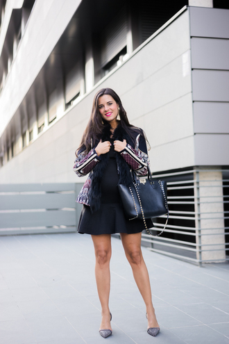 crimenes de la moda blogger jacket dress jewels shoes bag pumps handbag fall outfits