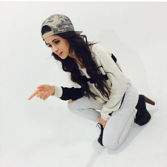 sweater camila cabello fifth harmony camila cabello black and white white sweater knitted sweater hat nappytabs snapback