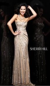dress,prom dress,nude dress,sparkly dress,sherri hill