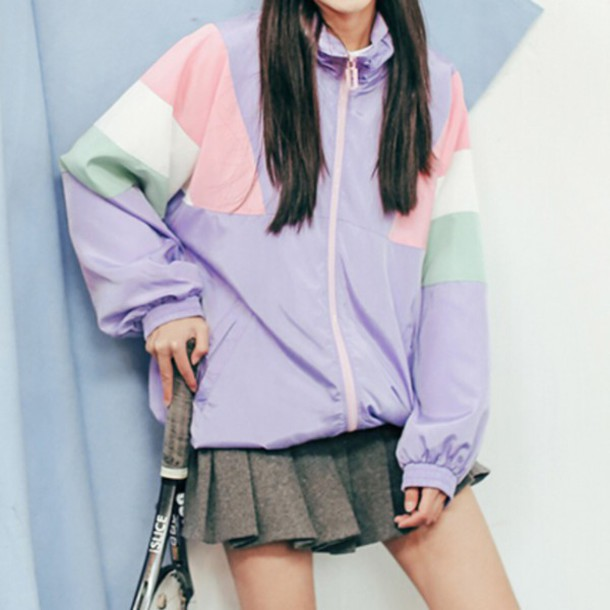 jacket pink pastel pastel pink pastel purple windbreaker kawaii kawaii grunge purple bomber jacket cute korean fashion mint