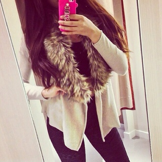 jacket fur faux fur jacket leather fur black jacket brown jacket winter sweater winter jacket fall outfits winter outfits autumn fur jacket pink iphone cases cardigan cream beige beautiful girly