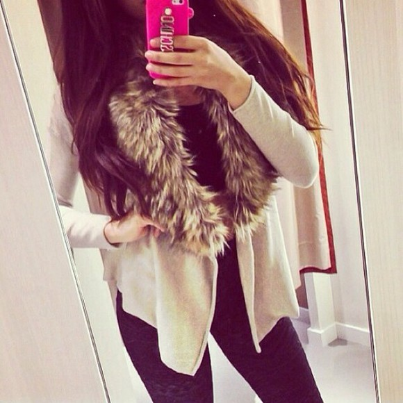 jacket brown jacket fur faux fur jacket leather fur black jacket winter sweater winter jacket fall outfits winter outfits cold weather fur jacket, white, grey pink iphone cases beautiful cardigan beige cream girly