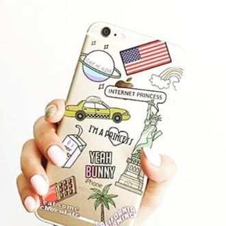 phone cover yeah bunny iphone iphone case iphone 6 case transparent transparent case american flag new york city usa american dream princess planets