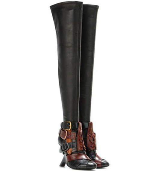 high boots buckle boots black shoes
