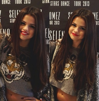 t-shirt black grey selena gomez girl lion top crop tops shirt selena gomez shirt tiger