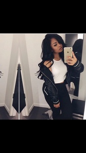 jacket,bomber jacket,women,black and white,black jacket,black,whitestripe,top,white top,on point clothing,white,white crop tops,halter top,halter crop top,white halter top,black jeans,jeans,black high waisted pants,high waisted,style,cute,cool,girl,pretty,tumblr,tumblr outfit,gorgeous,chill,rad,shirt,coat