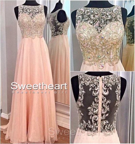 Line round neckline chiffon sequined long prom dresses, evening dresses