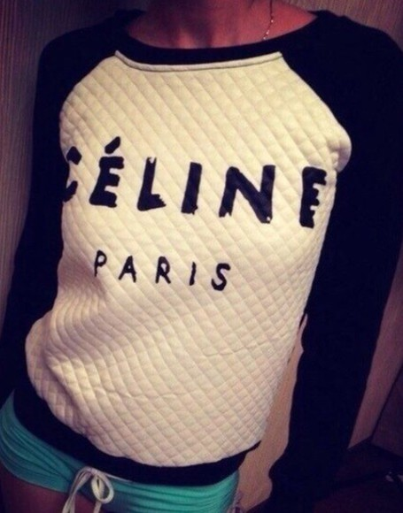 celine black white sweater quilted