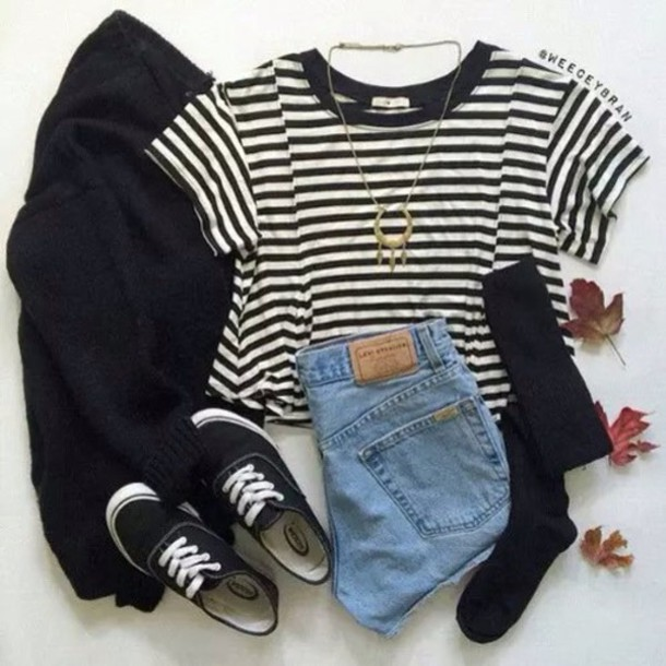 top stripes b&w denim shorts grunge casual summer spring boho hippie hipster tumblr socks black white cute girly shoes