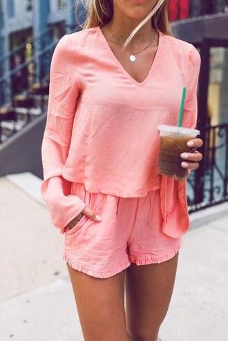 jumpsuit romper pink long sleeves