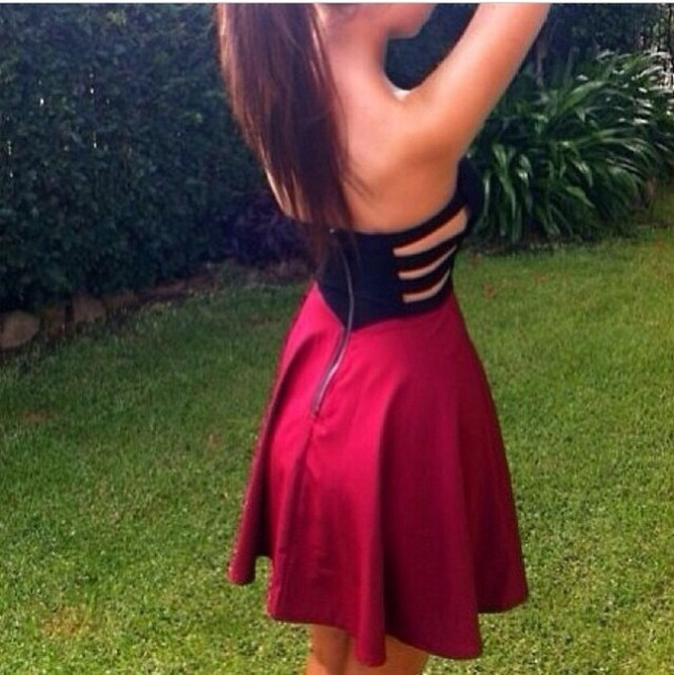 Dress: red, black, cute, tumblr, red black - Wheretoget