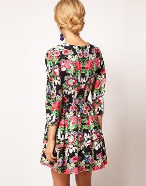 ASOS | ASOS Dolly Skater Dress In Tapestry Print at ASOS