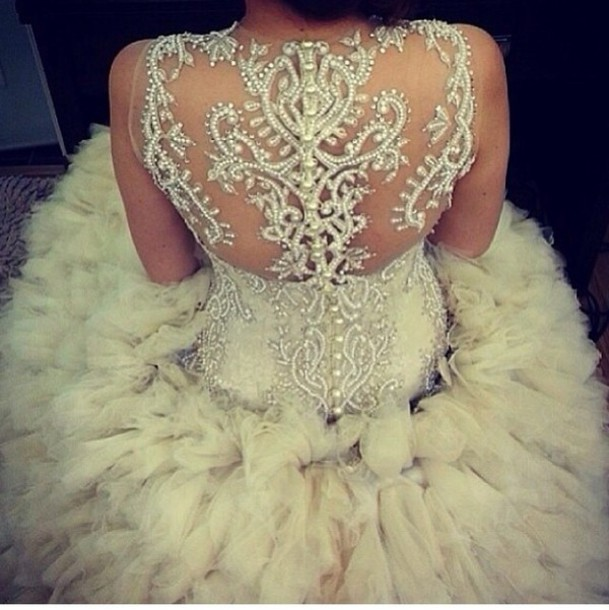 Dress: white wedding prom dress, glamour, crystal, gold details ...