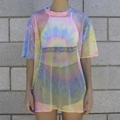 t-shirt,mesh top,shirt,rainbow,mesh,see through,outfit,baddies