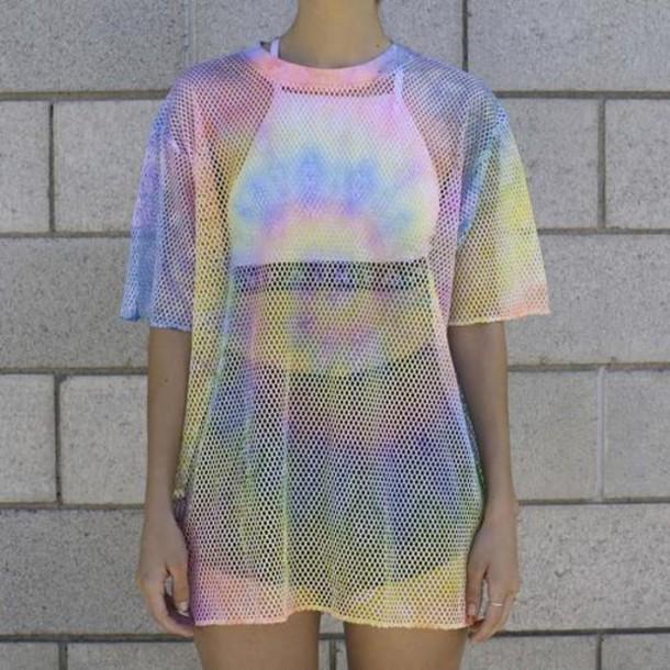 t-shirt mesh top shirt rainbow mesh see through outfit baddies