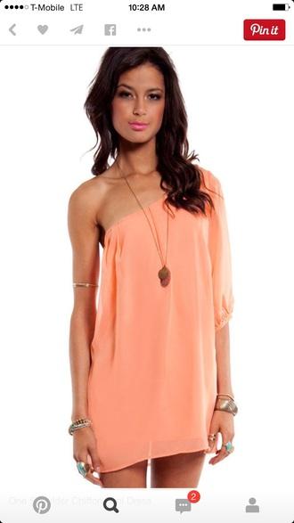 dress peach dress off shoulder dresses