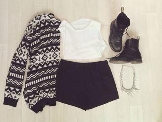 jacket winter outfits white black blouse shirt shorts top cardigan