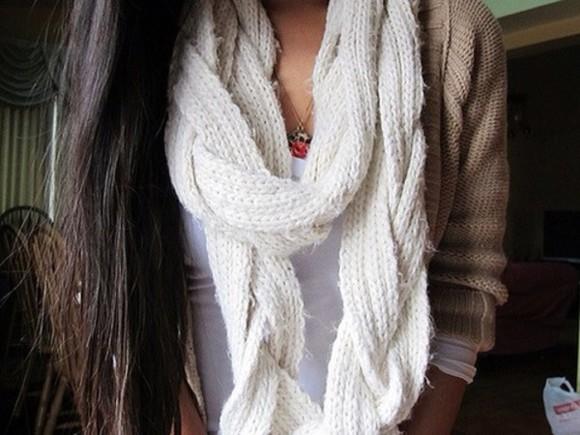 scarf white scarf braided scarf cream scarf white infinity scarf infinity scarf