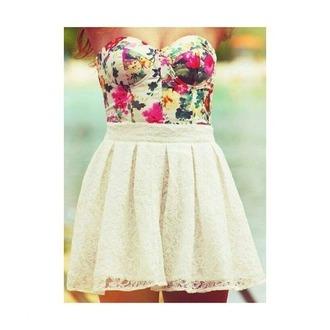shirt flower shirt white skirt