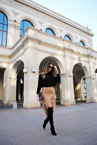 let's talk about fashion ! blogger sweater skirt shoes sunglasses bag jewels