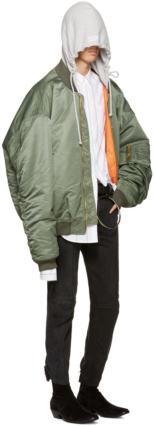 Vetements Green Oversized Bomber Jacket