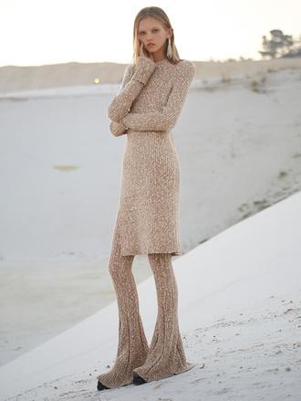 sweater zara set pants blouse knitted beige sand desert molly blair molly bair long cozy dress shirt