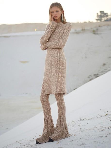 sweater zara set pants blouse knitwear beige sand desert molly blair molly bair long cozy dress shirt