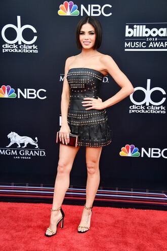 dress strapless mini dress jenna dewan sandals sandal heels billboard music awards red carpet red carpet dress shoes
