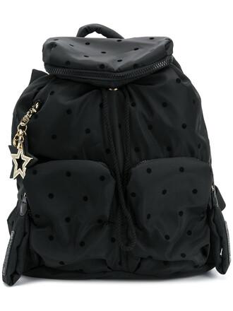 women backpack cotton black pattern bag