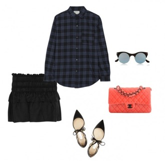 helena bordon blogger plaid shirt mini skirt black skirt quilted bag chanel bag cat eye pointed toe lace up flats