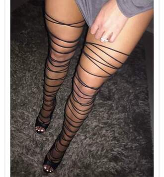 shoes strappy sandals strappy heels black wrap sandals thigh highs