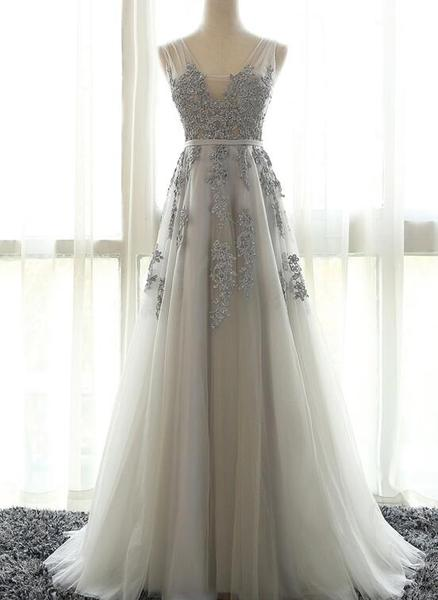 Grey Bridesmaid Dresses, Tulle Prom Dress with Applique Prom Dresses 2018, Evening Formal Dresses